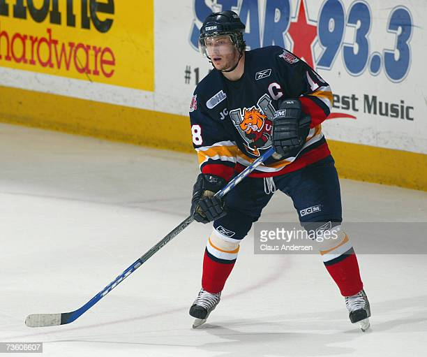 Bryan Little of the Barrie Colts skates against the Peterborough Petes played at the Peterborough Memorial Centre on March 14 2007 in Peterborough...