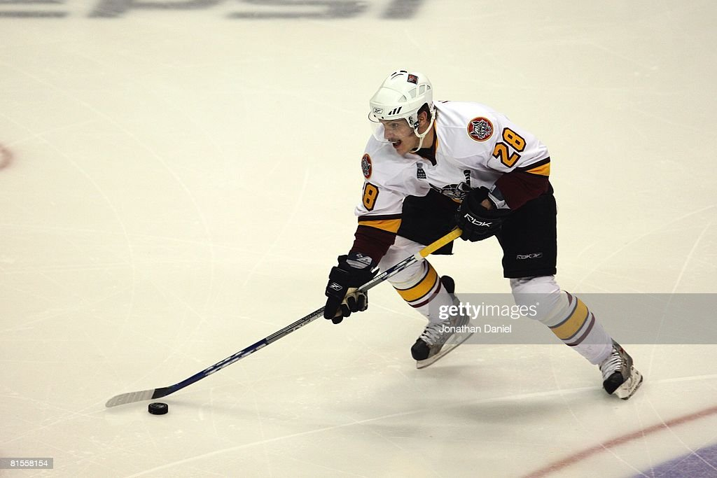 Bryan Little of the Chicago Wolves handles the puck against the WilkesBarre/Scranton Penguins during the Calder Cup Finals on June 10 2008 at the...