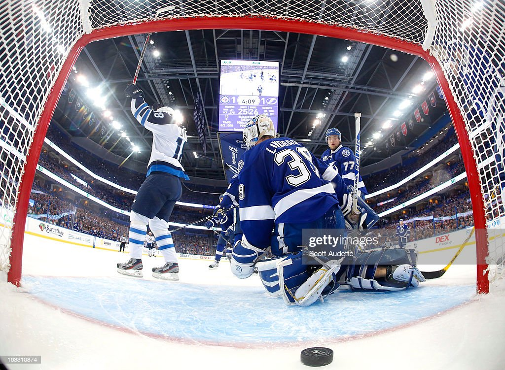 <a gi-track='captionPersonalityLinkClicked' href=/galleries/search?phrase=Bryan+Little&family=editorial&specificpeople=540533 ng-click='$event.stopPropagation()'>Bryan Little</a> #18 of the Winnipeg Jets celebrates after scoring a goal during the third period of the game against the Tampa Bay Lightning at the Tampa Bay Times Forum on March 7, 2013 in Tampa, Florida.
