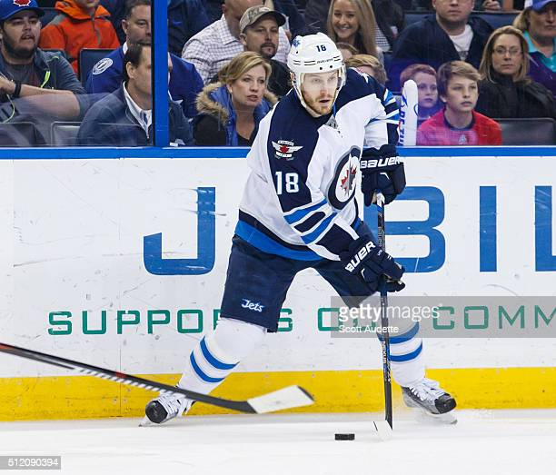 Bryan Little of the Winnipeg Jets skates against the Tampa Bay Lightning at the Amalie Arena on February 18 2016 in Tampa Florida