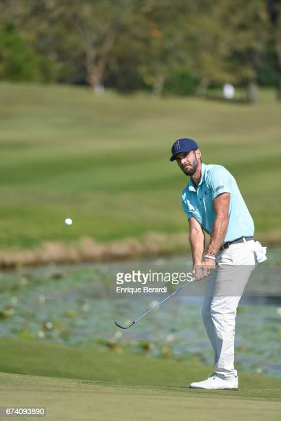 Bryan Martin of the United States chips onto the 18th green during the third round of the PGA TOUR Latinoamérica Honduras Open presented by Indura...