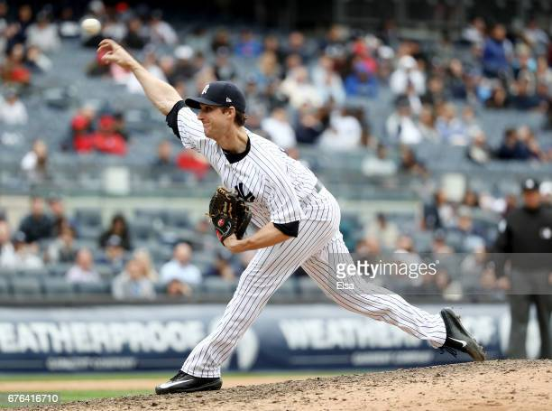 Bryan Mitchell of the New York Yankees delivers a pitch against the Baltimore Orioles on April 30 2017 at Yankee Stadium in the Bronx borough of New...