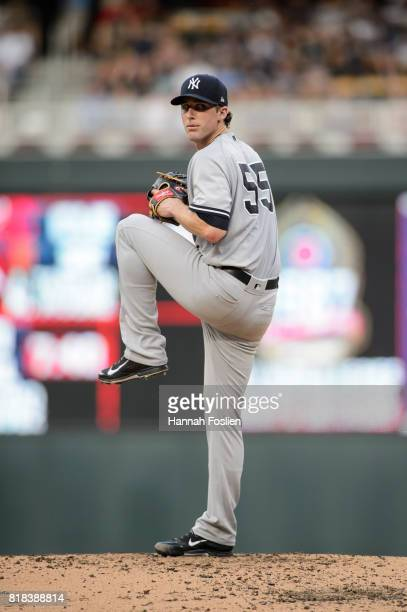 Bryan Mitchell of the New York Yankees delivers a pitch against the Minnesota Twins during the game on July 17 2017 at Target Field in Minneapolis...