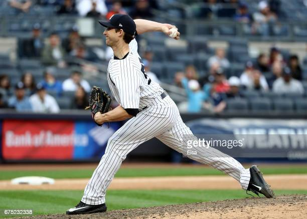 Bryan Mitchell of the New York Yankees delivers a pitch in the 11th inning against the Baltimore Orioles on April 30 2017 at Yankee Stadium in the...