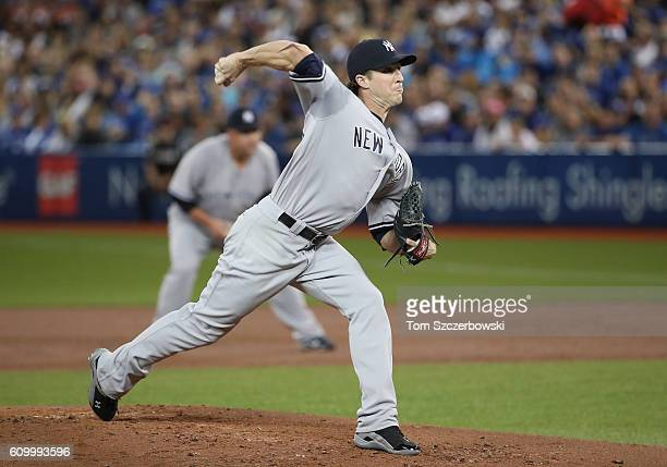 Bryan Mitchell of the New York Yankees delivers a pitch in the first inning during MLB game action against the Toronto Blue Jays on September 23 2016...