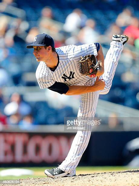 Bryan Mitchell of the New York Yankees in action against the Philadelphia Phillies at Yankee Stadium on June 24 2015 in the Bronx borough of New York...
