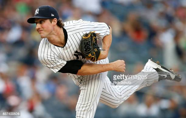 Bryan Mitchell of the New York Yankees in action against the Boston Red Sox during a game at Yankee Stadium on August 12 2017 in the Bronx borough of...