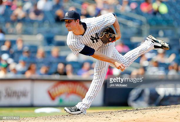Bryan Mitchell of the New York Yankees in action against the Tampa Bay Rays at Yankee Stadium on July 5 2015 in the Bronx borough of New York City...