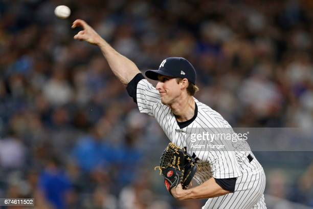 Bryan Mitchell of the New York Yankees pitches against the Baltimore Orioles during the sixth inning at Yankee Stadium on April 28 2017 in the Bronx...