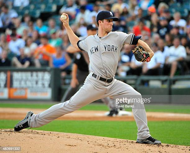 Bryan Mitchell of the New York Yankees pitches against the Chicago White Sox during the first inning on August 1 2015 at US Cellular Field in Chicago...