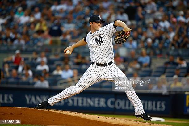 Bryan Mitchell of the New York Yankees pitches against the Minnesota Twins during their game at Yankee Stadium on August 17 2015 in New York City