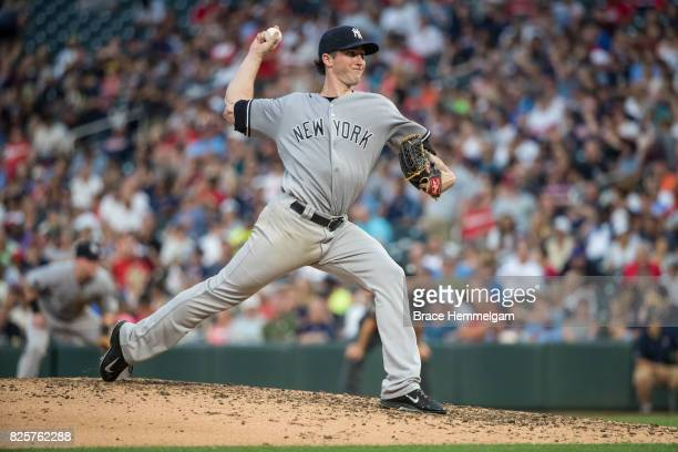 Bryan Mitchell of the New York Yankees pitches against the Minnesota Twins on July 17 2017 at Target Field in Minneapolis Minnesota The Twins...