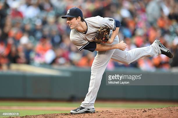 Bryan Mitchell of the New York Yankees pitches during a baseball game against the Baltimore Orioles at Oriole Park at Camden Yards on October 4 2015...
