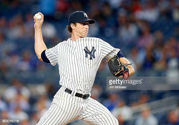 Bryan Mitchell of the New York Yankees pitches in the first inning against the Los Angeles Dodgers at Yankee Stadium on September 12 2016 in the...
