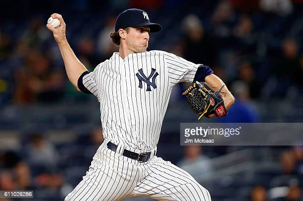 Bryan Mitchell of the New York Yankees pitches in the first inning against the Boston Red Sox at Yankee Stadium on September 28 2016 in the Bronx...