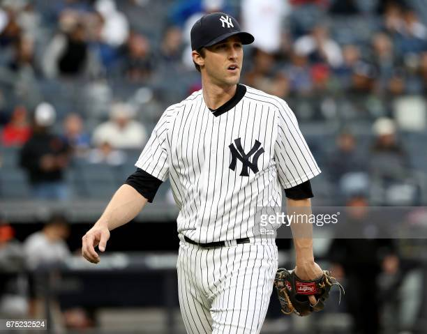 Bryan Mitchell of the New York Yankees walks back to the dugout in the 11th inning against the Baltimore Orioles on April 30 2017 at Yankee Stadium...