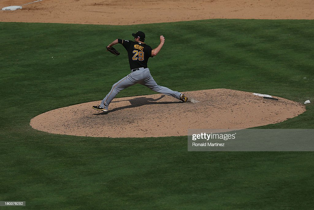 Bryan Morris #29 of the Pittsburgh Pirates at Rangers Ballpark in Arlington on September 11, 2013 in Arlington, Texas.