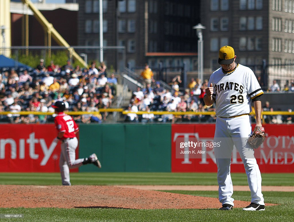 Bryan Morris #29 of the Pittsburgh Pirates reacts after giving up a three run home run in the eighth inning against the Washington Nationals during the game on May 5, 2013 at PNC Park in Pittsburgh, Pennsylvania.