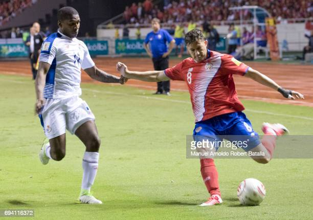 Bryan Oviedo kicks the ball during the match between Costa Rica and Panama as part of the FIFA 2018 World Cup Qualifiers at Estadio Nacional on June...