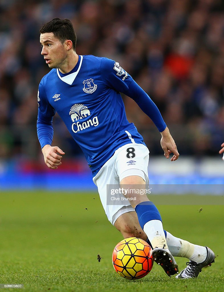 <a gi-track='captionPersonalityLinkClicked' href=/galleries/search?phrase=Bryan+Oviedo&family=editorial&specificpeople=4412740 ng-click='$event.stopPropagation()'>Bryan Oviedo</a> of Everton in action during the Barclays Premier League match between Everton and Swansea City at Goodison Park on January 24, 2016 in Liverpool, United Kingdom.