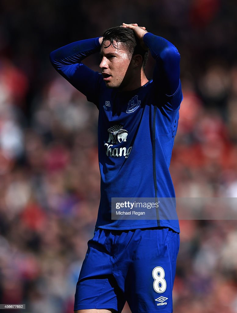 <a gi-track='captionPersonalityLinkClicked' href=/galleries/search?phrase=Bryan+Oviedo&family=editorial&specificpeople=4412740 ng-click='$event.stopPropagation()'>Bryan Oviedo</a> of Everton reacts to a missed chance during the Barclays Premier League match between Manchester United and Everton at Old Trafford on October 5, 2014 in Manchester, England.