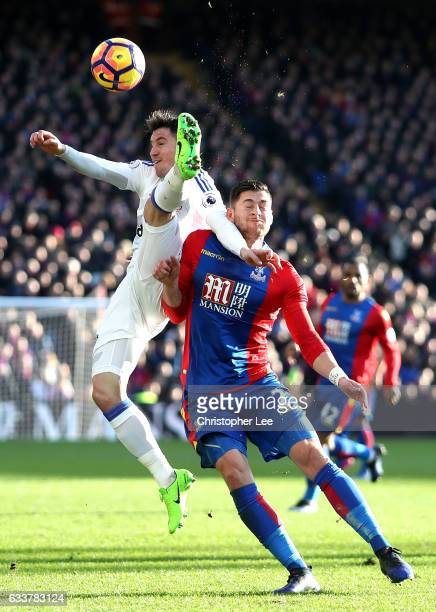 Bryan Oviedo of Sunderland and Joel Ward of Crystal Palace compete for the ball during the Premier League match between Crystal Palace and Sunderland...