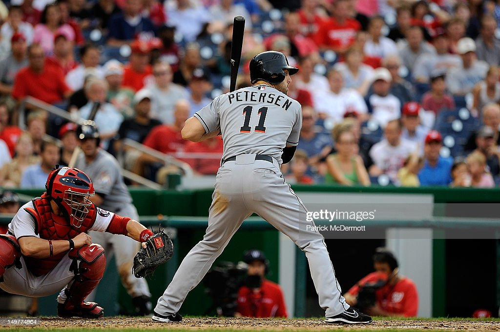 <a gi-track='captionPersonalityLinkClicked' href=/galleries/search?phrase=Bryan+Petersen&family=editorial&specificpeople=4963930 ng-click='$event.stopPropagation()'>Bryan Petersen</a> #11 of the Miami Marlins strikes out looking in the eighth inning against the Washington Nationals at Nationals Park on August 3, 2012 in Washington, DC.
