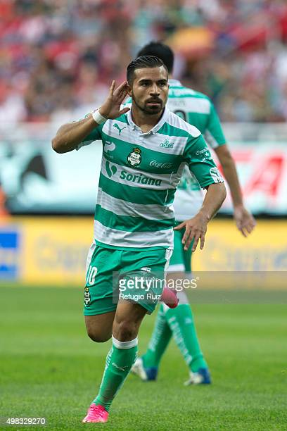 Bryan Rabello of Santos celebrates after scoring the opening goal during the 17th round match Between Chivas and Santos Laguna as part of the Liga MX...