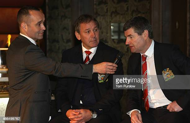Bryan Robson and Denis Irwin of Manchester United attend the launch of the Manchester United bwin Casino App at Manchester 235 Casino on March 16...