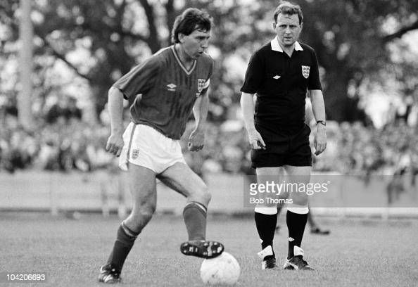 Bryan Robson of England in action against Aylesbury United during a friendly match held at Bell Close Aylesbury on 4th June 1988 The referee is Brian...