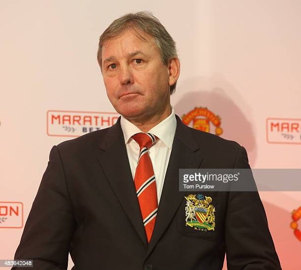 Bryan Robson of Manchester United attends a press conference to announce a club partnership with Marathonbet at Old Trafford on August 11 2015 in...