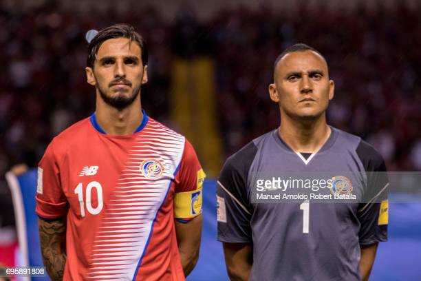 Bryan Ruiz and Keylor Navas of Costa Rica looks on prior a match between Costa Rica and Trinidad Tobago as part of the FIFA 2018 World Cup Qualifiers...
