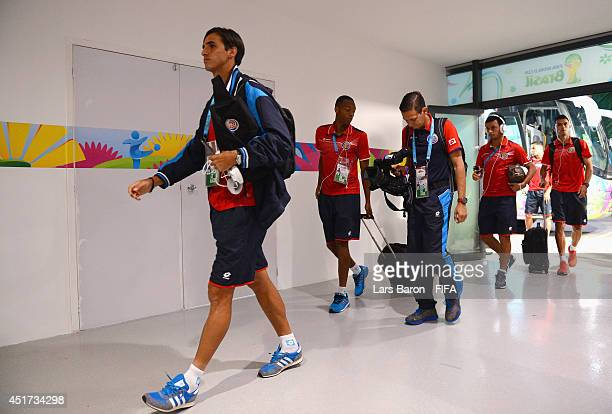Bryan Ruiz of Costa Rica arrives at the stadium prior to the 2014 FIFA World Cup Brazil Quarter Final match between Netherlands and Costa Rica at...