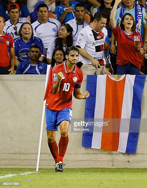 Bryan Ruiz of Costa Rica celebrates his goal in the second half against El Salvador at BBVA Compass Stadium on July 11 2015 in Houston Texas
