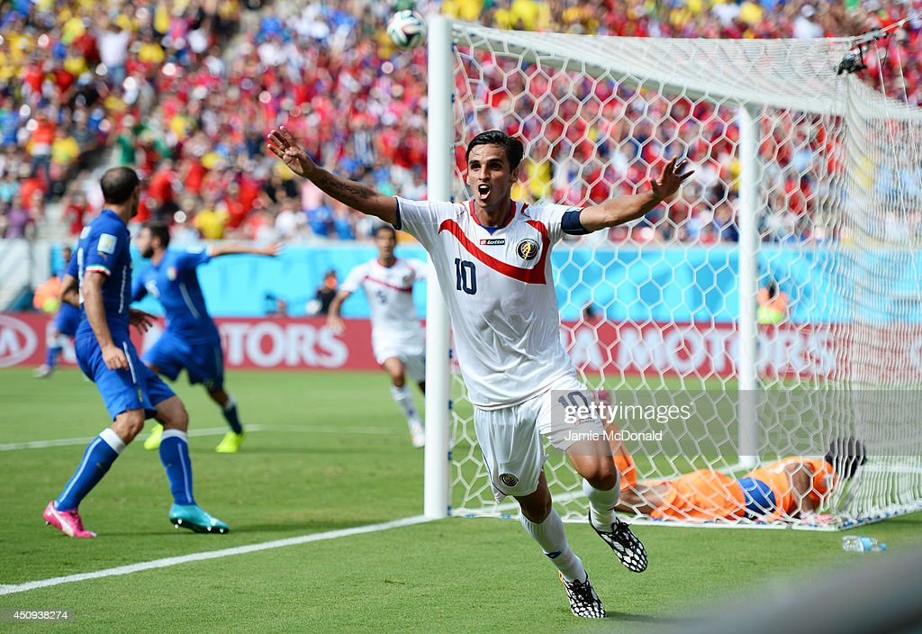 Bryan Ruiz of Costa Rica celebrates scoring his team's first goal during the 2014 FIFA World Cup Brazil Group D match between Italy and Costa Rica at...