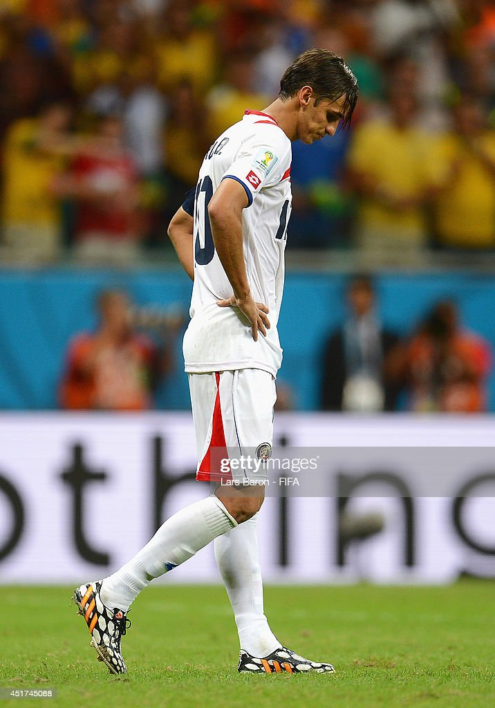 <a gi-track='captionPersonalityLinkClicked' href=/galleries/search?phrase=Bryan+Ruiz&family=editorial&specificpeople=714489 ng-click='$event.stopPropagation()'>Bryan Ruiz</a> of Costa Rica reacts after the defeat in the 2014 FIFA World Cup Brazil Quarter Final match between Netherlands and Costa Rica at Arena Fonte Nova on July 5, 2014 in Salvador, Brazil.