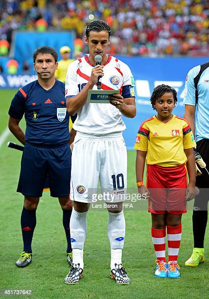 Bryan Ruiz of Costa Rica reads a declaration against discrimination in recognition of FIFA AntiDiscrimination Day prior to the 2014 FIFA World Cup...