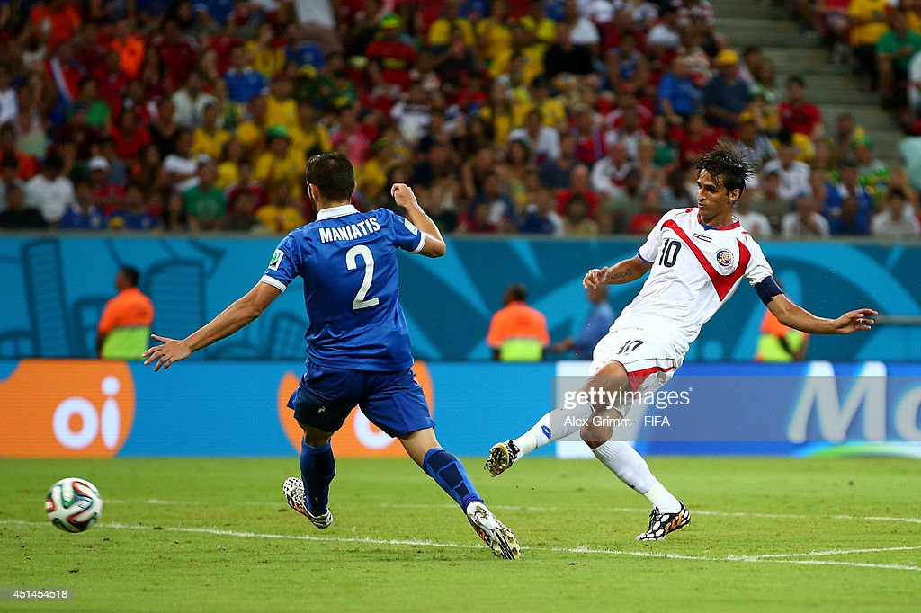 Bryan Ruiz of Costa Rica scores his team's first goal during the 2014 FIFA World Cup Brazil Round of 16 match between Costa Rica and Greece at Arena...