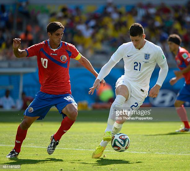 Bryan Ruiz of Costa Rice with Ross Barkley of England during the 2014 FIFA World Cup Brazil Group D match between Costa Rica and England at Estadio...