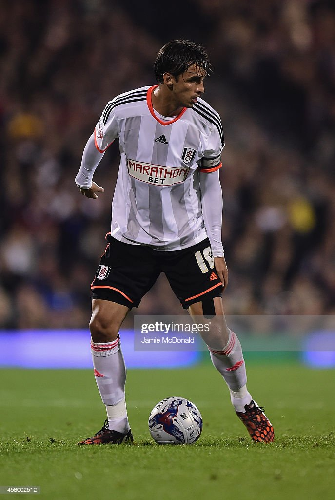 Bryan Ruiz of Fulham in action during the Capital One Cup fourth round match between Fulham Derby County at Craven Cottage on October 28 2014 in...