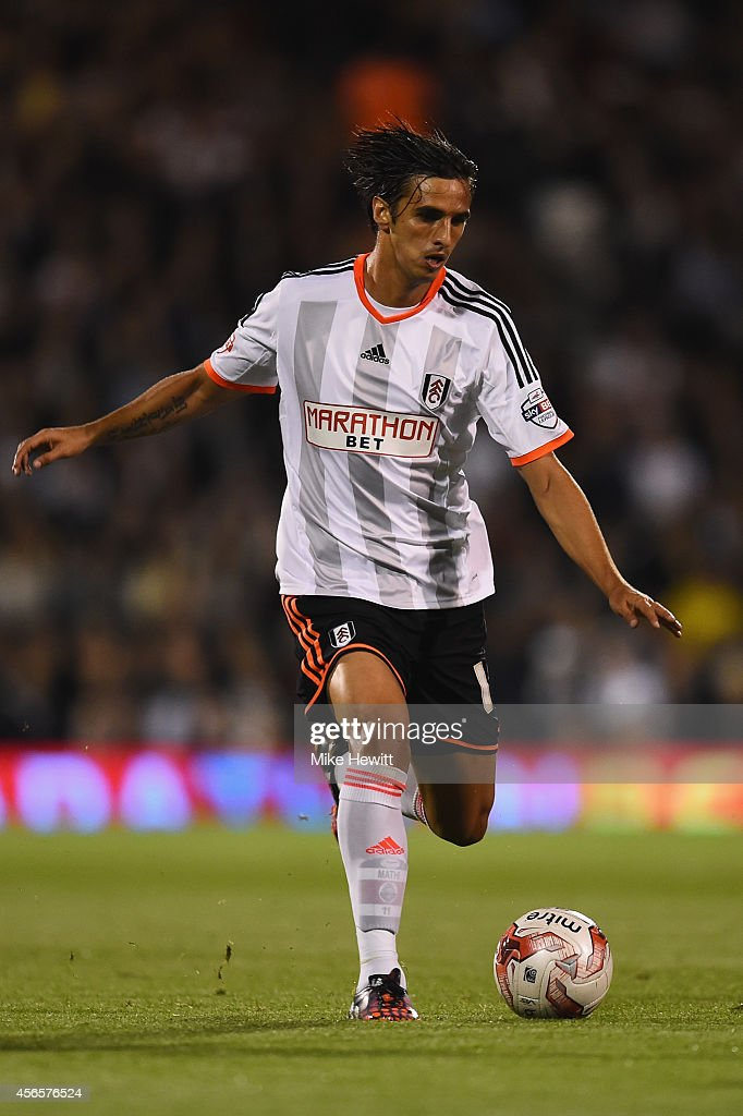 Bryan Ruiz of Fulham in action during the Sky Bet Championship match between Fulham and Bolton Wanderers at Craven Cottage on October 1 2014 in...