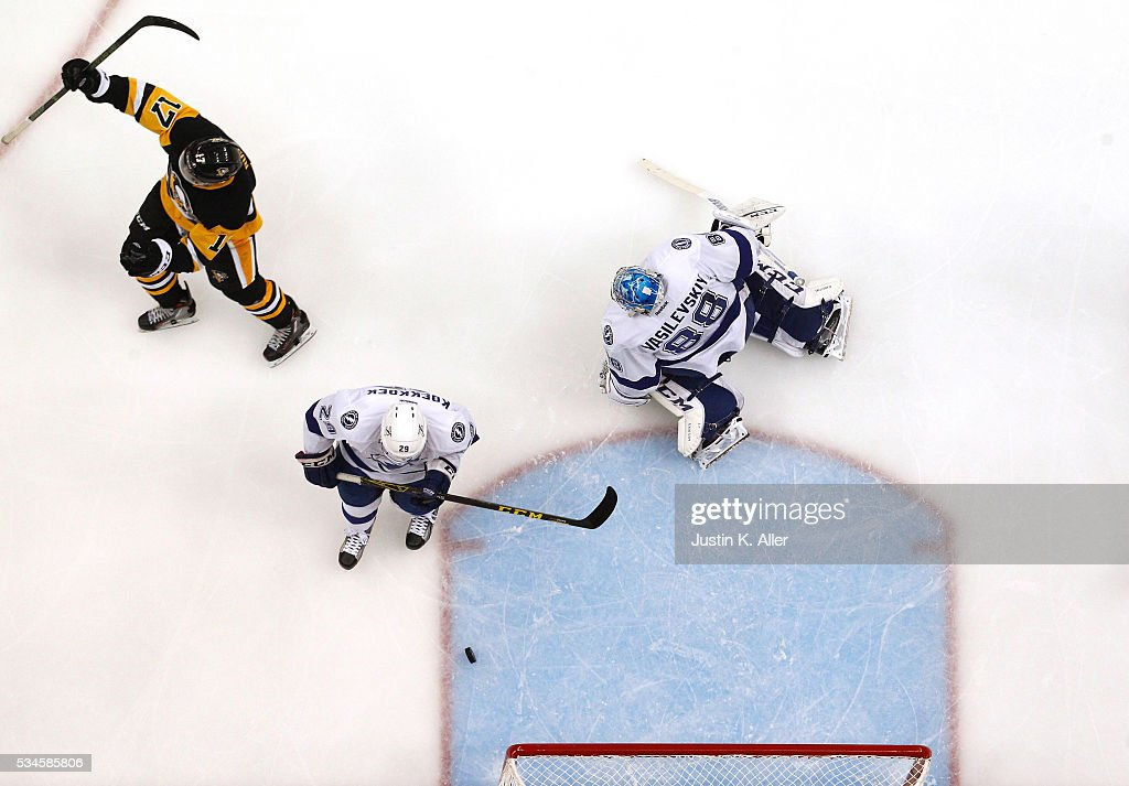 Bryan Rust #17 of the Pittsburgh Penguins celebrates after scoring his first goal against Andrei Vasilevskiy #88 of the Tampa Bay Lightning during the second period in Game Seven of the Eastern Conference Final during the 2016 NHL Stanley Cup Playoffs at Consol Energy Center on May 26, 2016 in Pittsburgh, Pennsylvania.