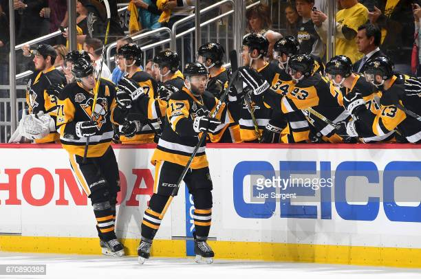 Bryan Rust of the Pittsburgh Penguins celebrates his second goal in the second period against the Columbus Blue Jackets in Game Five of the Eastern...
