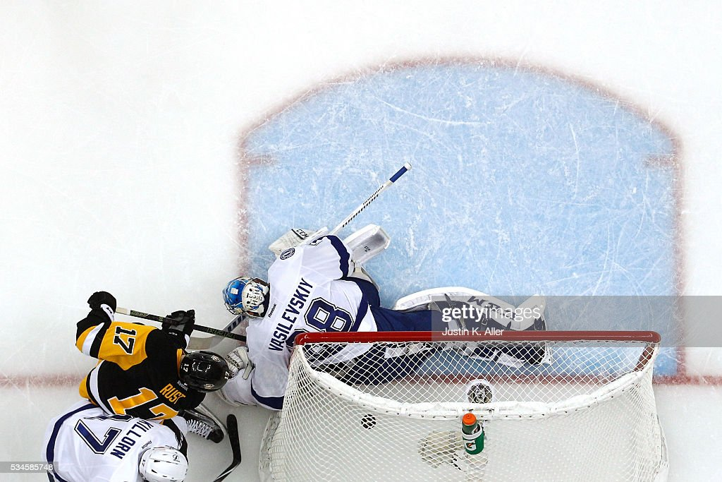 Bryan Rust #17 of the Pittsburgh Penguins scores his second goal against Andrei Vasilevskiy #88 of the Tampa Bay Lightning during the second period in Game Seven of the Eastern Conference Final during the 2016 NHL Stanley Cup Playoffs at Consol Energy Center on May 26, 2016 in Pittsburgh, Pennsylvania.