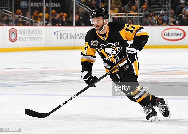 Bryan Rust of the Pittsburgh Penguins skates against the St Louis Blues at PPG Paints Arena on January 24 2017 in Pittsburgh Pennsylvania