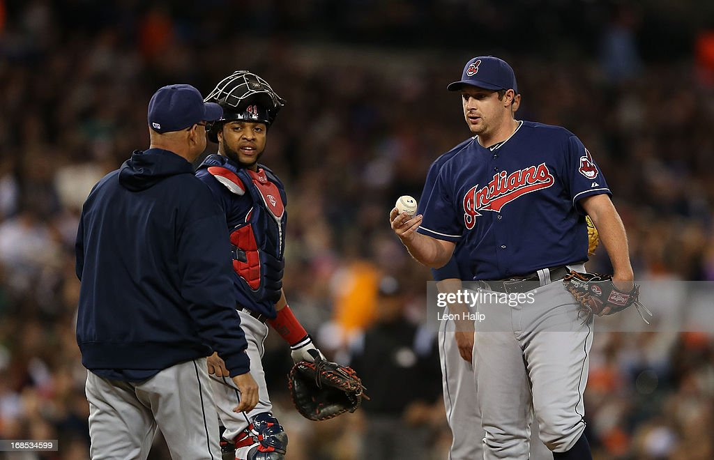 Bryan Shaw #27 of the Cleveland Indians hands the ball over to manager <a gi-track='captionPersonalityLinkClicked' href=/galleries/search?phrase=Terry+Francona&family=editorial&specificpeople=171936 ng-click='$event.stopPropagation()'>Terry Francona</a> #17 in the sixth inning of the game against the Detroit Tigers at Comerica Park on May 10, 2013 in Detroit, Michigan. The Tigers defeated the Indians 10-4.