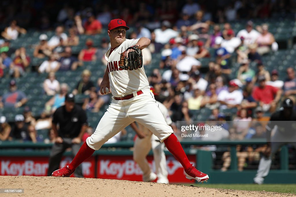 <a gi-track='captionPersonalityLinkClicked' href=/galleries/search?phrase=Bryan+Shaw+-+Baseball+Player&family=editorial&specificpeople=11376278 ng-click='$event.stopPropagation()'>Bryan Shaw</a> #27 of the Cleveland Indians pitches against the Chicago White Sox during the ninth inning of their game on July 26, 2015 at Progressive Field in Cleveland, Ohio. The White Sox defeated the Indians 2-1.