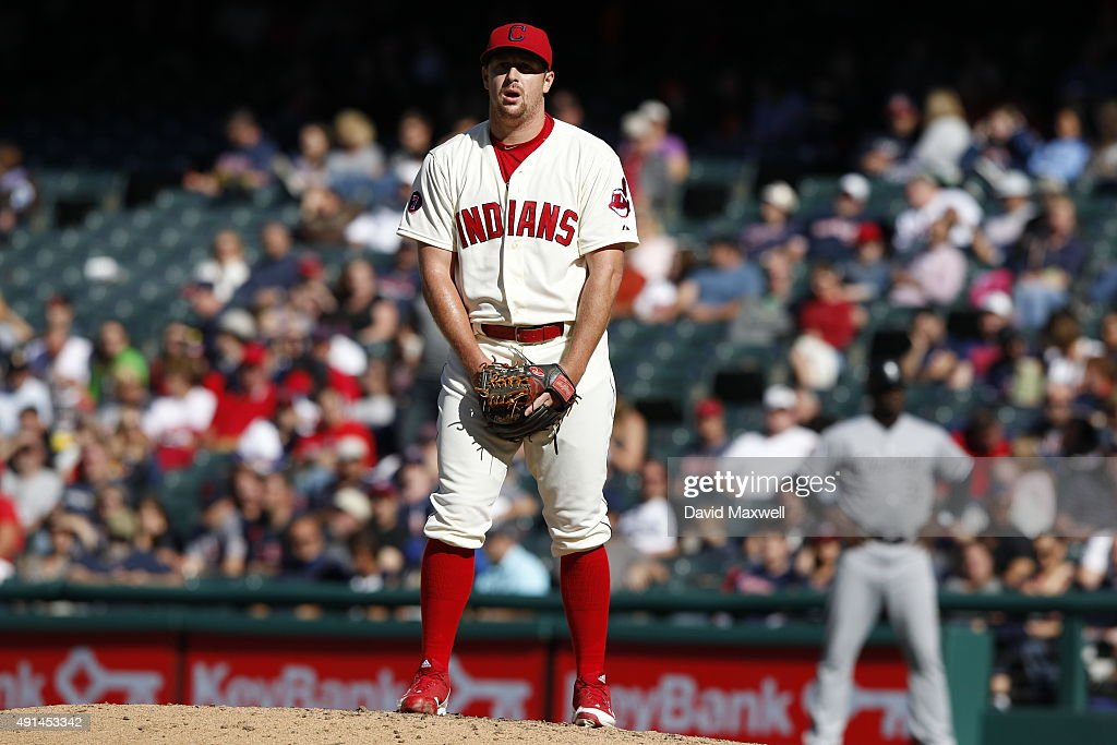 <a gi-track='captionPersonalityLinkClicked' href=/galleries/search?phrase=Bryan+Shaw+-+Baseball+Player&family=editorial&specificpeople=11376278 ng-click='$event.stopPropagation()'>Bryan Shaw</a> #27 of the Cleveland Indians pitches against the Chicago White Sox during the eighth inning of their game on September 20, 2015 at Progressive Field in Cleveland, Ohio. The Indians defeated the White Sox 6-3.