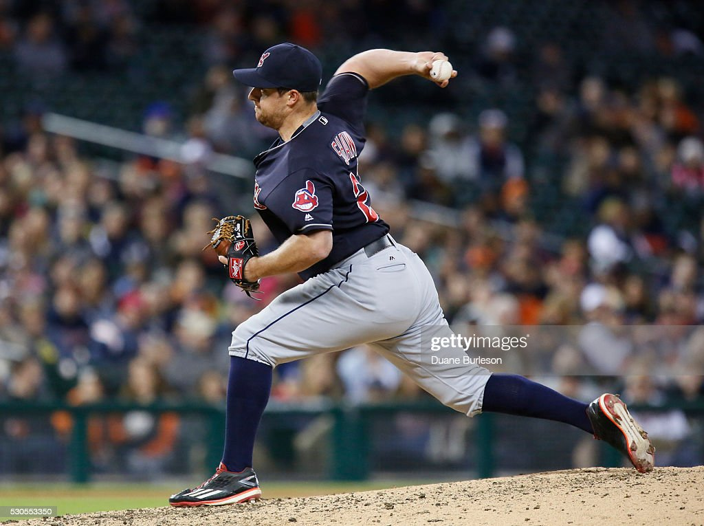 <a gi-track='captionPersonalityLinkClicked' href=/galleries/search?phrase=Bryan+Shaw+-+Baseball+Player&family=editorial&specificpeople=11376278 ng-click='$event.stopPropagation()'>Bryan Shaw</a> #27 of the Cleveland Indians pitches against the Detroit Tigers at Comerica Park on April 22, 2016 in Detroit, Michigan.