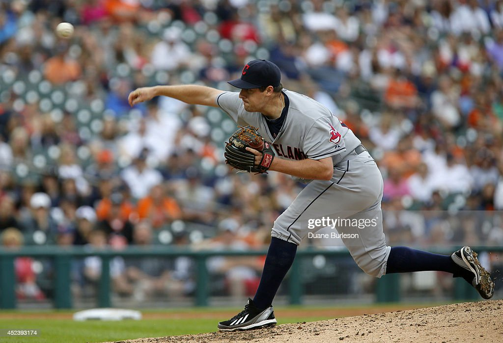 Bryan Shaw #27 of the Cleveland Indians pitches against the Detroit Tigers during the ninth inning of game one of a doubleheader at Comerica Park on July 19, 2014 in Detroit, Michigan.